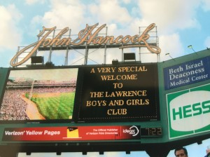 Fenway sign welcoming lawrence boys and girls club a prior time when Jaffarian took kids to Fenway