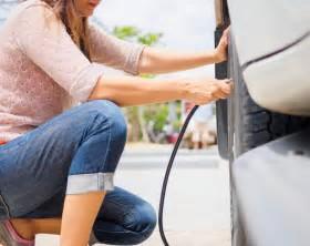 woman fill tire